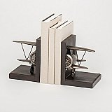 Roman Giftware Airplane Pewter Finish Stoneware Bookends