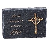 Roman Giftware 5 inch Heart of Black Plaque with Gold Cross