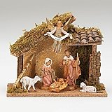 Fontanini Nativity 5 inch 6 figure with Italian Stable