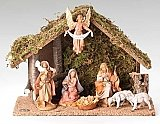 Fontanini Nativity 5 inch scale 7 Piece Set with Italian stable 54564