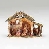 Fontanini Nativity 5 inch scale 6 Figures with lighted stable 54567