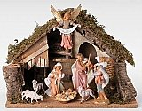 Fontanini Nativity 7 inch Scale 8 Figure set with Italian Stable