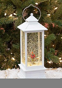 Roman White Lighted With Red Cardinal LED Lantern 11 Inch Acrylic Decorative Tabletop Snow Globe 130357