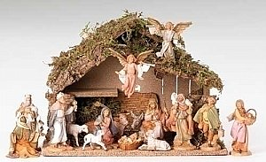Fontanini nativity 5 inch scale 16 figures with Italian Stable 54492